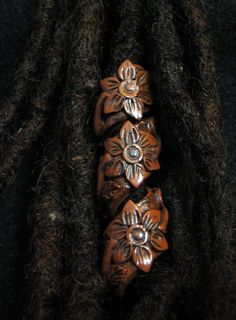 Dread Bead Wood Look Flower Coil You Choose Hole Size :: Shop DreadStop.Com for Leather Dreadlock Cuffs, Ties & Dread Beads Dread Jewelry, Dreadlock Jewelry, Dread Beads, Hair Beads, Dreadlock Accessories, Natural Hair Accessories, Natural Hair Styles, Summer Hairstyles, Pretty Hairstyles