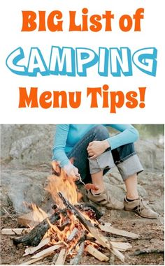 CAMPING MENU IDEAS: Cinnamon-Orange campfire breakfast, Hobo packs, Banana boats, Pizza sandwiches, Tomato soup & dumplings, Campfire 'baked' potatoes, Baggy omelets, Blueberry-Orange campfire breakfast {Each with directions for making!}