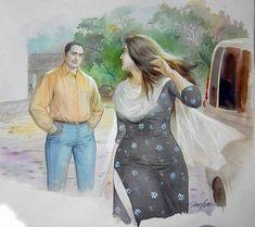 Paintings of Artist Mohan Manimala Indian Women Painting, Indian Art Paintings, Paintings Online, Indian Artist, Buy Paintings, Sexy Painting, Woman Painting, Painting Canvas, Romance Art