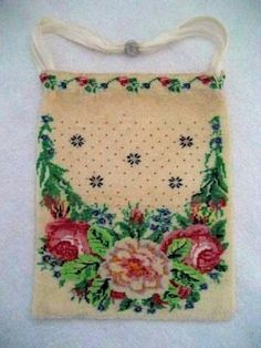 Vintage 1900 - 1920 beaded pouch style purse with draw closure and roses