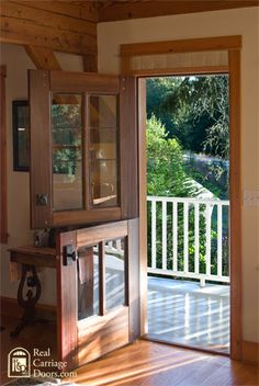 Dutch Door - Let in the breeze but not the horses! I have always wanted a dutch door in my home . Back Doors, Entry Doors, Entrance, Front Doors With Windows, Wood Doors, Style At Home, Future House, My House, House Front