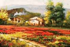 Modern  People Farming paintings | Valley Village, Farmhouses & Barns, Sceneries at ToucanArt.com