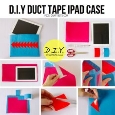 DIY: iPad or Laptop Duct Tape case (No Sew!) Easy Diy Crafts, Fun Crafts, Duck Tape Crafts, Diy Case, Duct Tape, Cool Diy, Ipad Case, Diy Tutorial, Diy Gifts