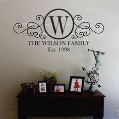 Swirly Circle Family Monogram Vinyl Wall Decal By Back40life