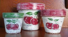 Check out this item in my Etsy shop https://www.etsy.com/listing/265300961/hand-painted-terracotta-pots-set-of-3
