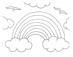 happy flowers with sun and rainbow for coloring | flower coloring ... - Coloring Page Rainbow Clouds