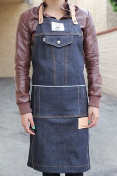 Name: Railcar Fine Goods Type 3 Classic Apron Weight: 12 Oz. Other details:      Both single and triple stitch construction     Blue line selvedge waist and pen pockets     Railcar washer and rivets     6 Oz. raw leather neck and adjustable waistband straps  Available at: Railcar Fine Goods for $128.00 USD