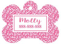 Personalized Hot Pink Coral Bone Pet Tag with Steelheart Font