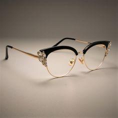 Femmes Cat Eye Glasses Frames Optical Eye Glasses Mode Metal Frame Pr – sheheonline by jycmcneill Fashion Eye Glasses, Cat Eye Glasses, Glasses Frames Trendy, Designer Glasses Frames, Vintage Glasses Frames, Luxury Glasses, Round Lens Sunglasses, Optical Eyewear, Steampunk Sunglasses