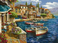 Browse Artwork by Anatoly Metlan - Park West Gallery Watercolor Landscape, Landscape Art, Landscape Paintings, Oil Painting Pictures, Art Pictures, Venice Painting, Pintura Exterior, Acrylic Painting Techniques, Seascape Paintings