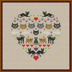 Heart and Cats 1 cross stitch pattern Instant par CrossStitchForYou