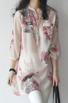 Zanzea Fashion Blusas Femininas 2018 Summer Women Blouses Blouse Casual Floral Print Long Blouse Tops Shirt Plus Size Fashion 2018, Modest Fashion, Fashion Outfits, Latest Fashion For Women, Latest Fashion Trends, Ladies Fashion, Trendy Fashion, Womens Fashion, Spring Shirts