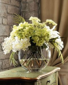 Shop faux flowers and floral arrangements at Horchow. Add some greenery to your home with these bouquet arrangements. Green Flowers, Faux Flowers, Silk Flowers, White Flowers, Beautiful Flowers, Glass Flowers, Ikebana, Lily Of Valley, Décor Antique