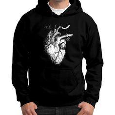 The Human Heart Gildan Hoodie (on man)
