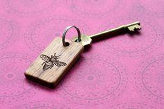 Bee wood Key chain. Handmade laser engraved wood gift. Custom