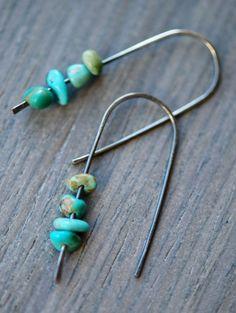 turquoise earrings in oxidized silver. handmade earrings.  minimalist jewelry.  modern jewelry. rustic jewelry on Etsy, $28.00