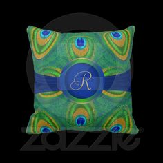 Digitally created peacock feather design American MoJo Pillow. Personalize with your initial.