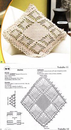 Crochet Bikini Pattern, Crochet Lace Edging, Crochet Diagram, Afghan Crochet Patterns, Crochet Chart, Crochet Doilies, Filet Crochet, Crochet Pillow Cases, Crochet Cushion Cover