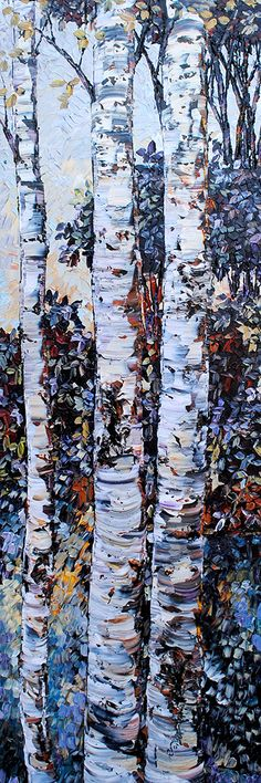 Maya Eventov Aspen Trees, Birch Trees, Picture Tree, Autumn Painting, Tree Silhouette, Leaf Art, Abstract Canvas, Tree Art, Painting Techniques