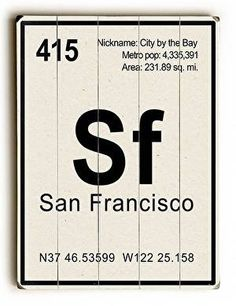 San Francisco Elements Wood Sign Creatively designed, this San Francisco Elements Wood Sign will add style and cool sophistication to any room. This unique sign also makes a great gift. The sign is a