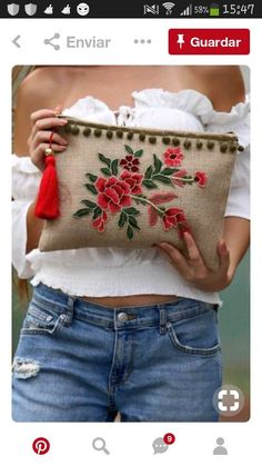 new Ideas for embroidery fashion diy costura Embroidery Bags, Embroidery Fashion, Embroidery Patterns, Sewing Patterns, Crochet Cross, Boho Bags, Jute Bags, Fabric Bags, Handmade Bags