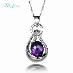 [ $30 OFF ] L&zuan 925 Sterling Silver Natural 5.82Ct Amethyst Purple Gemstone Luxury Pendant For Woman Wedding Jewelry Gift