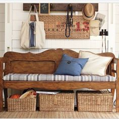 Mudroom: bench from our old headboard, with baskets for storage. Decor, Entryway Bench, Furnishings, Old Headboard, Entryway, Room, Interior, Home Decor, Furniture