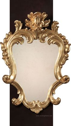 Baroque style carved wood mirror with elegant leaf scroll motif. Baroque mirror finished in antique gold leaf and has antiqued glass. This mirror is hand-crafted in Italy Baroque Mirror, French Mirror, Baroque Art, Baroque Pattern, Baroque Design, Antique Glass, Antique Art, Art Nouveau Tiles, Hand Lettering Alphabet
