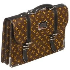 Louis Vuitton Maccassar Monogram Larry Briefcase Brown Travel Bag.