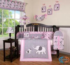 Adorable pink and grey elephant crib bedding set