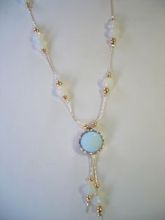 Israeli silver and goldfilled  necklace synthetic opalit