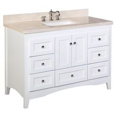 Charlton Home Farlend Single Bathroom Vanity Set Base Finish: White, Top Finish: Crema Marfil Vanity Set, Vanity Cabinet, Brown Bathroom, Single Bathroom Vanity, Master Bathroom, Bathroom Goals, Bathroom Organisation, Bathroom Renos, Bathroom Cabinets