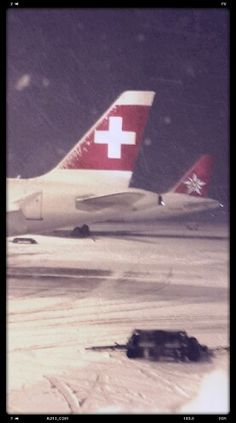 Finally some snow! Zurich Airport. Dec 27 2014.