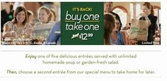 Olive Garden: Buy One Entree, Take One FREE is back!  | SassyDealz.com