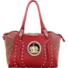 This Official Betty Boop® Bling Bling Studded Handbag features: - Betty Boop® encircled in rhinestones with goldtone nameplate. - Rows and rows of gold studs line the sides while rhinestones form a ho Fashion Handbags, Fashion Bags, Betty Boop Purses, Red Hat Ladies, Black Betty, Gold Studs, Bling Bling, Purses And Bags, Chanel