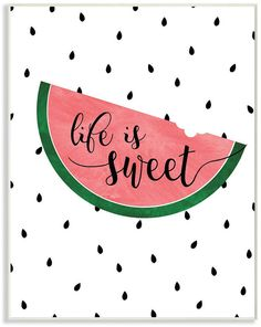 Life Is Sweet - Watermelon Art Print by Anna Quach. All prints are professionally printed, packaged, and shipped within 3 - 4 business days. Watermelon Quotes, Watermelon Pictures, Sweet Watermelon, Watermelon Art, Watermelon Drawing, Watermelon Painting, Bullet Journal Quotes, Bullet Journal Ideas Pages, Chalk Art