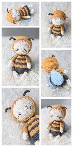 Crochet Bee, Crochet Buttons, Crochet Amigurumi Free Patterns, Crochet Animal Patterns, Cute Crochet, Vintage Crochet, Crochet Crafts, Crochet Yarn, Crochet Projects