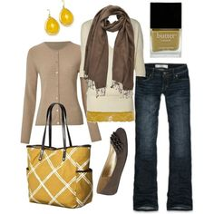 Gray, yellow and jeans