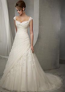 Tulle Square Neckline Natural Waistline A-line Wedding Dress With Beaded Lace Appliques