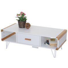 Couchtisch Toledo Wohnzimmertisch Beistelltisch Mit Bambus Weiss 100x45x35cm
