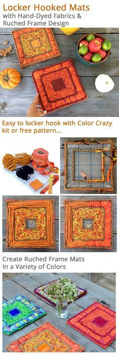 Locker hooking kits for mats with ruched frames show off beautifully dyed fabrics.