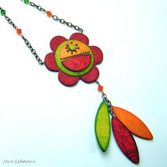 Polymer Clay Flower Pendant Necklace by feeliz