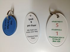 Great for Hotels, Resorts and Apartments. Custom printed acrylic key tags in many sizes - these premium tags will outlast them all. Available online with Surfside Engraving at www.surfsideengraving.com