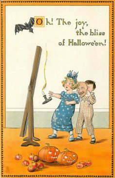 Divided Back Postcard Oh! The Joy, the Bliss of Halloween! Halloween Eve, Halloween Banner, Halloween Prints, Halloween Items, Holidays Halloween, Happy Halloween, Vintage Halloween Images, Halloween Pictures, Vintage Cards