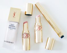 YSL teint radiance foundation, touch éclat concealer and rouge volupté perle lipsticks (via)