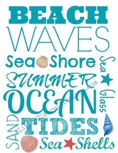 Free Beach Printable by A Little Claireification #beach #seashells