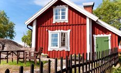 Image of 'Red summer scandinavian house' on Colourbox Wood Fence Post, Vinyl Fence Panels, Wrought Iron Fences, Red Cottage, Fenced In Yard, Scandinavian Home, Little Houses, Exterior Paint, Beach House