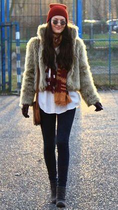 с чем носить меховую куртку на активной прогулке
