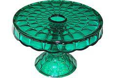 Emerald Green Glass Cake Stand; www.onekingslane.com