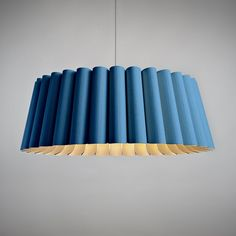 Renata 80 Pendant Blue Natural now featured on Fab. Element Lighting, Cool Lighting, Chandelier Lighting, Modern Lighting, Lighting Design, Lighting Ideas, Flexible Wood, Wood Lamps, Table Lamps